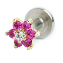 Prong Set Gem Internally Threaded Flower Labret Stud