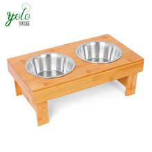 Bamboo Elevated Pet Feeder 2 Dog Bowls Raised Stand with Double Stainless Steel Bowls