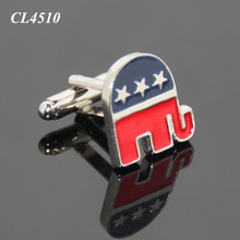 Elephant Shaped United States Vote Election Souvenir Republican Party Customize Logo Zinc Alloy Metal Enamel Engrave Cufflinks