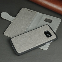 Luxury gray mobile case,for samsung edge s7 phone leather cover