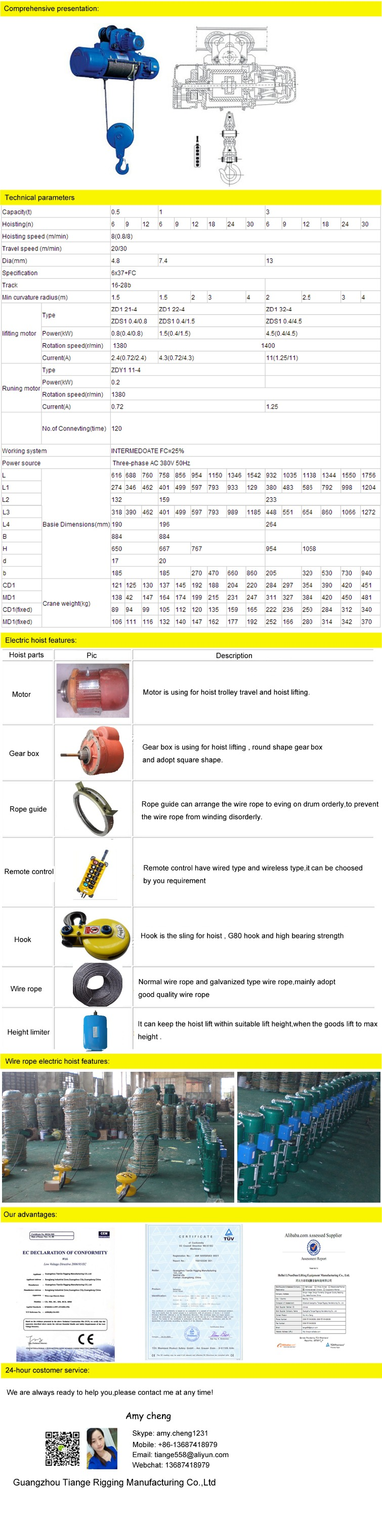 220V double speed wire rope electric hoist with trolley
