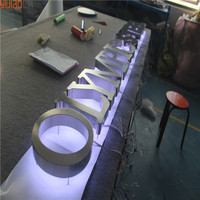 Reverse channel letter signs stainless steel led backlit logo halo letter