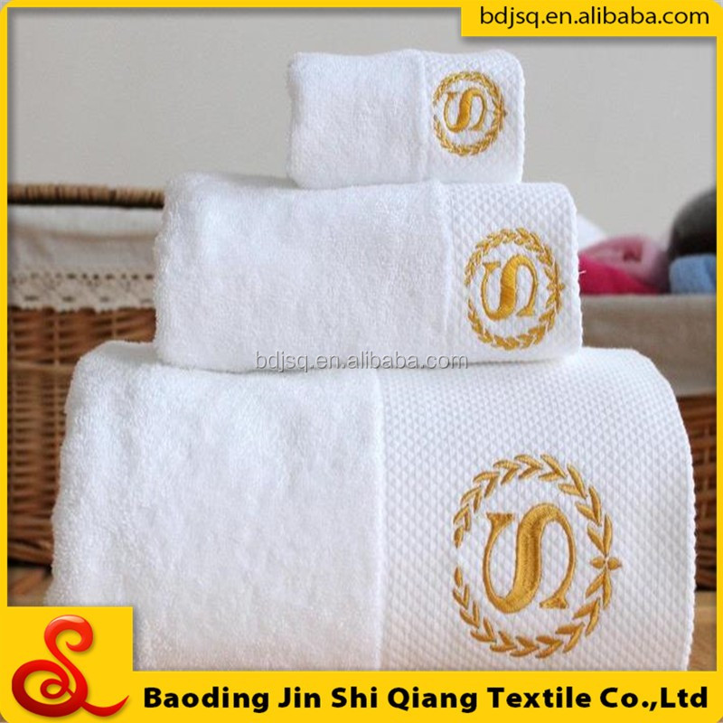 China wholesale cheap five star hotel customed logo 100% cotton soft textile hand towel set