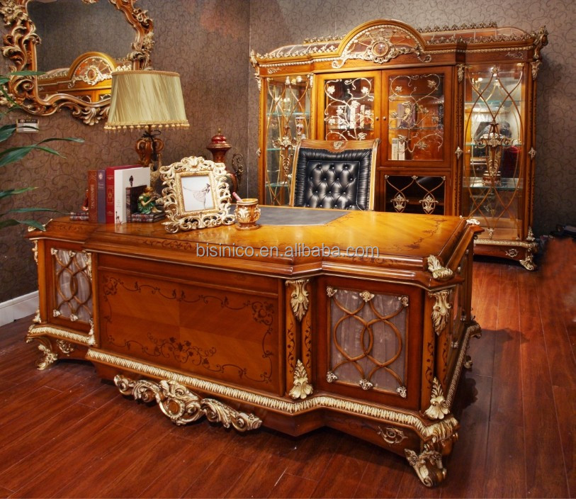 French Baroque Style Luxury Executive Office Desk/ European Classic Wood Carving Writing Table/ Retro Home Office Furniture