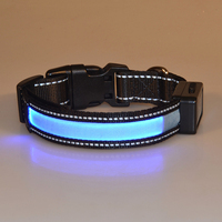Night safety warning LED dog collar USB rechargeable and solar charging dog collar