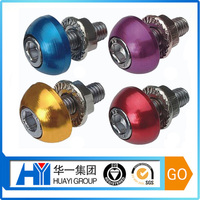 high quality beautiful aluminum with colour anodized decorative nut and bolt