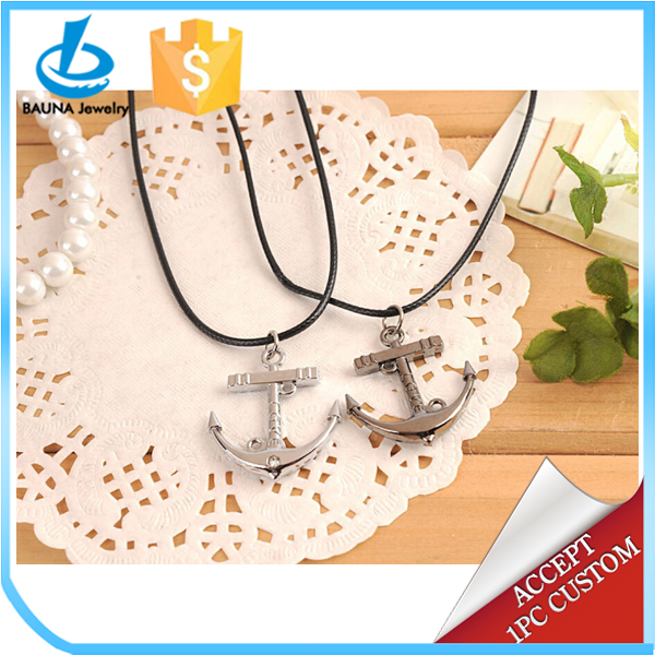 2015 Hot sale classical men jewelry black leather Chain anchor pendant necklace