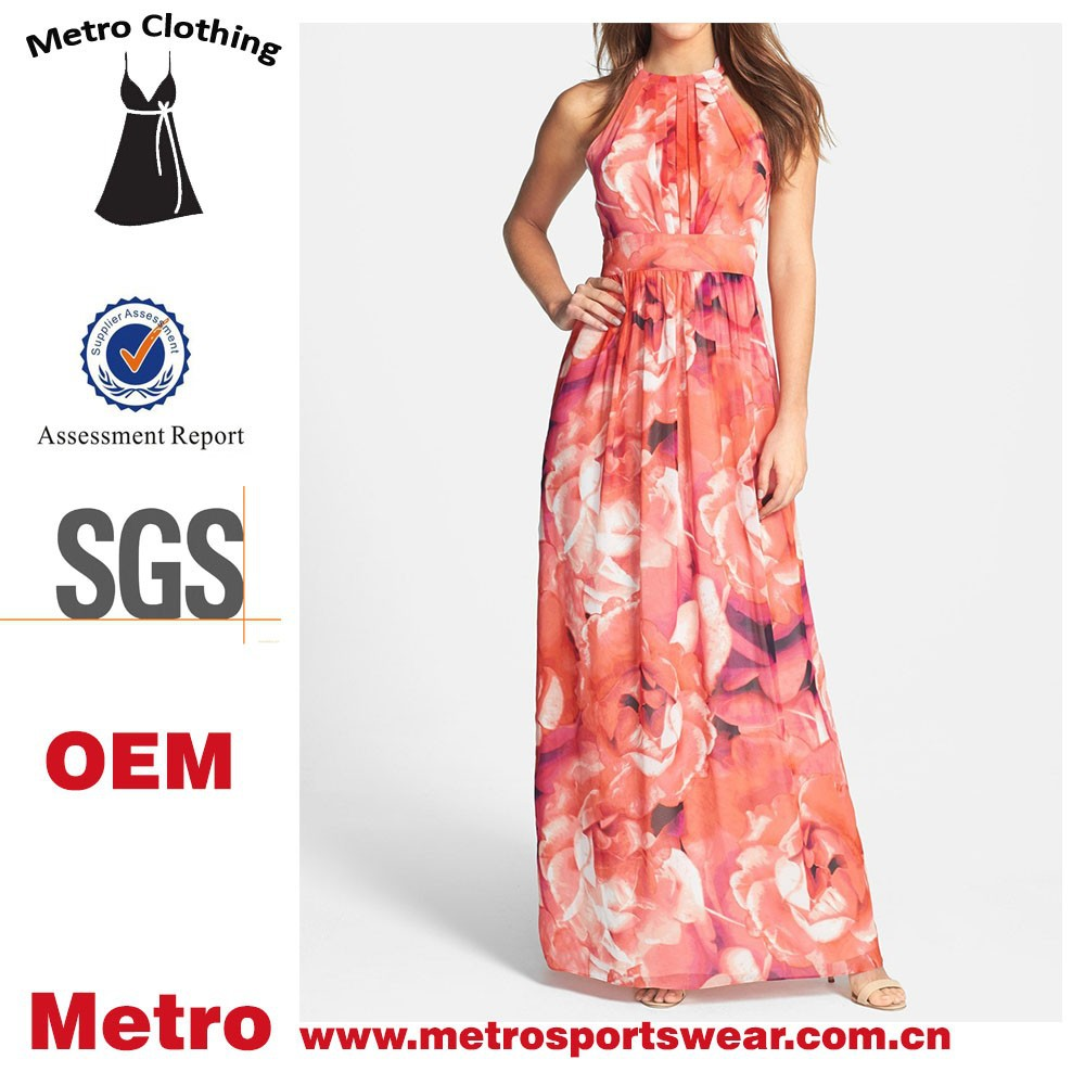 2015 New Fashion OEM Dress Ladies Summer Floral Printed Maxi boutique Dress