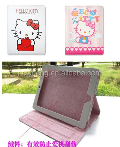 for Apple ipad 2/3/4 case cartoon hello kitty bows ribbon leather flip case for ipad 2
