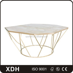 Modern design stainless steel legs marble top coffee table