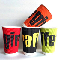 10OZ LOGO Printed Paper Cups Single/Double/Ripple Wall for Coffee/Ice cream