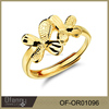 Latest simple double butterfly flower adjustable 2 gram gold ring designs