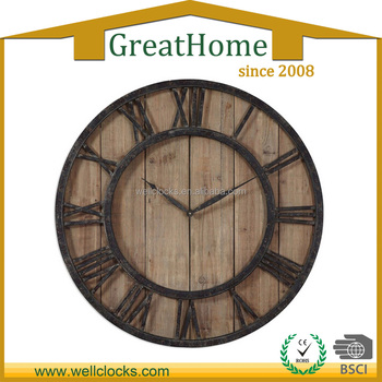 30 inch Round Metal With Wood Antique Wall Clock for home decor