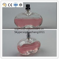100ml empty clear apple shape Perfume glass bottle with spray and cap in China