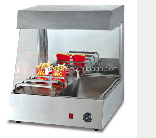 KFC use table top Fast food equipment work bench showcase type French fries chip warmer