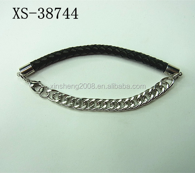 Fashion metal chain and leather string mixed designed bracelet