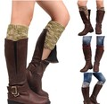 Women's Winter Warm Soft Color Matching Knitted Leg Warmers Boot Socks Cuffs