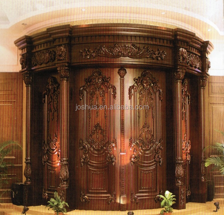 Arched carved double wood entry door view decorative for Wood carving doors hd images