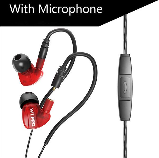 QKZ W1 Pro Headphone For Running With Microphone Removable Cable Headphones With Memory Wire