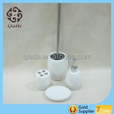 4pcs OEM White Ceramic Hotel Bathroom Accessory