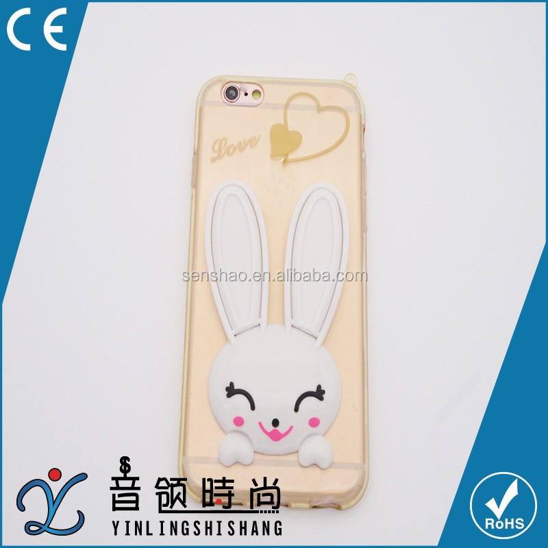 cheap hot selling Cute Rabbit Design Soft TPU Phone Cover Case With Rhinestone for iPhone 6 with low MOQ accept OEM/ODM