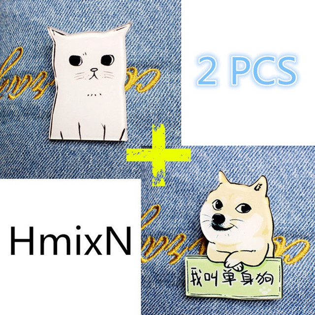 2 PCS Animal Lovely Cartoon Brooches Pins Cute Cat and Dog Simpson broche small mini acrylic enamel lapel + new arrive