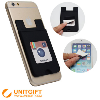 Personalized card holder attach to the back of smart phone silicone rubber business card holder