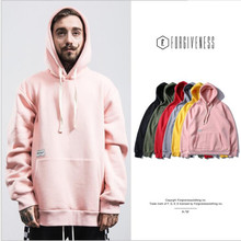 Agradable al por mayor hip hop hoodies hombres sólido simple básico capucha High Street sudadera pullover