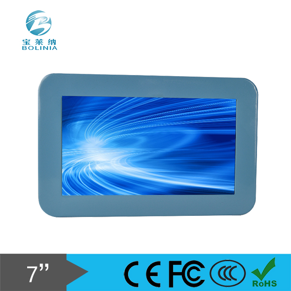 7 inch LCD Monitor VGA/DVI/HDMI input OEM Rugged Metal Frame Touch Optional