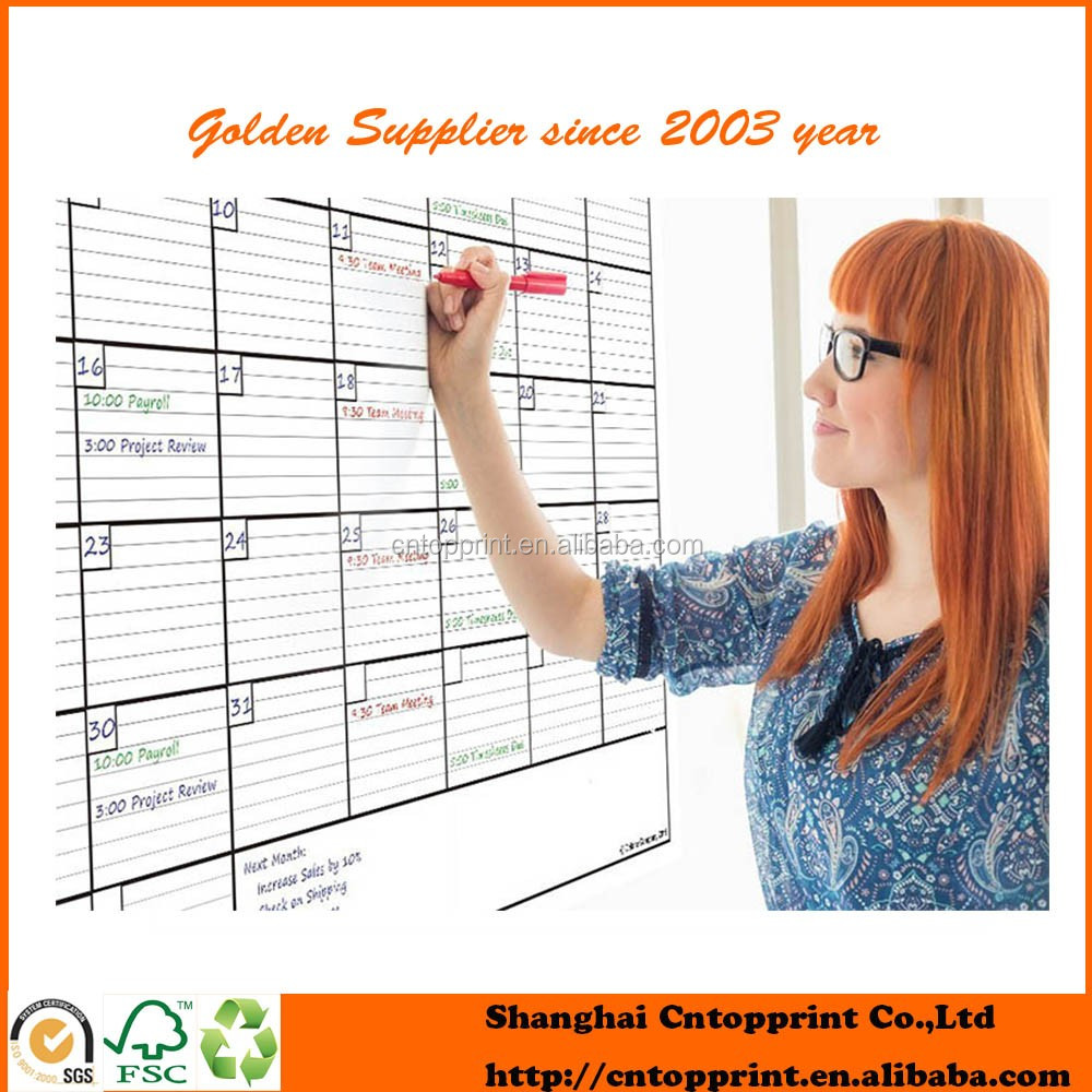 high quliaty waterproof dry erase wall calendar printing