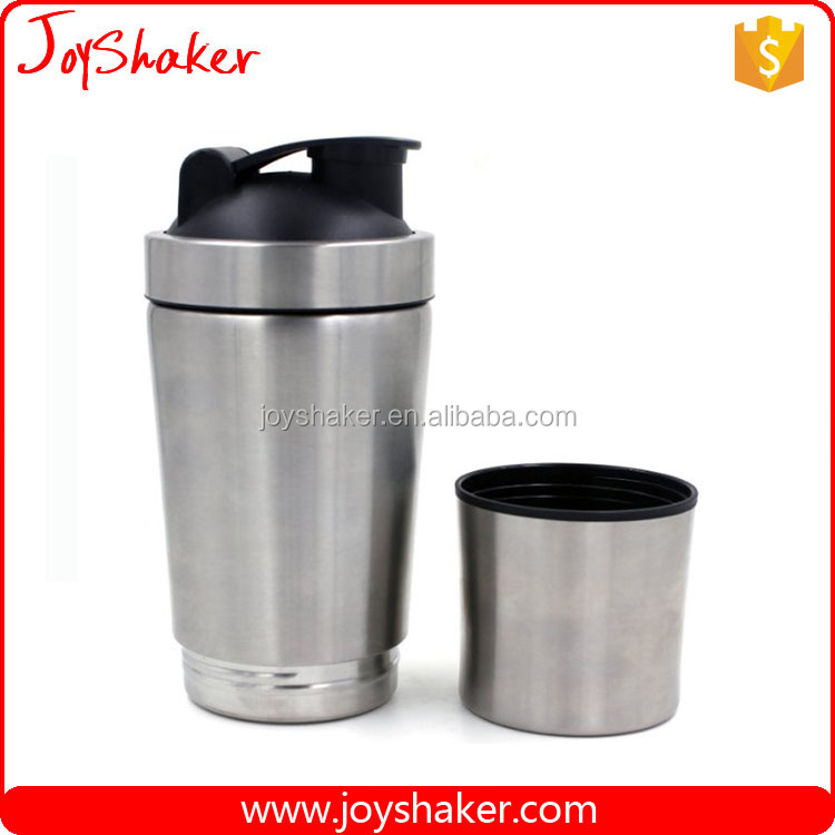 New Product 2016 Promotional High Quality Metal Protein Shaker Bottle with Seperate Compartment