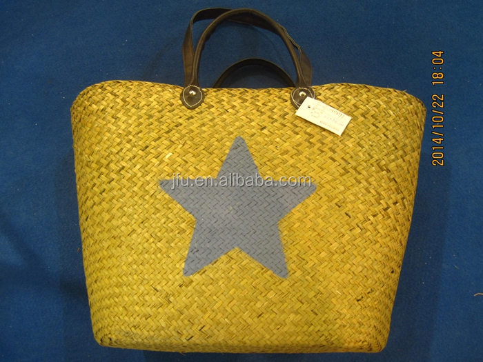 summer star printing 100% hand made seagrass straw beach bag palm leaf french market basket bag