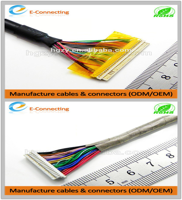Hot sale high quality Lvds cable and connector for DF13-5S-1.25C Digital Lcd panel flat cable
