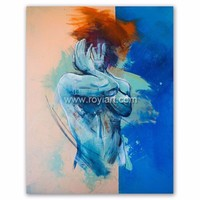 ROYIART Modern Abstract Human Figure Oil Painting Wall Art