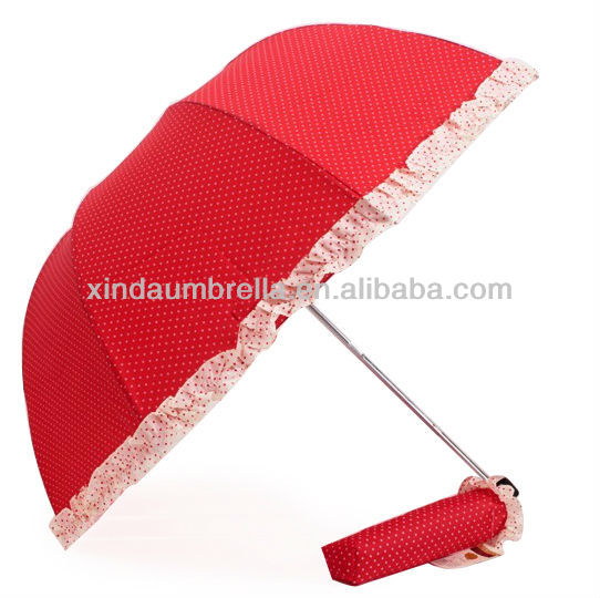 Lovely Cute Lady Girl Red Polka Dot Frill Mini Light 3 Folding Up Sun Umbrella for Gift