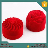 Cute Red rose flower velvet bangle bracelet display jewelry packaging box for wedding factories in china