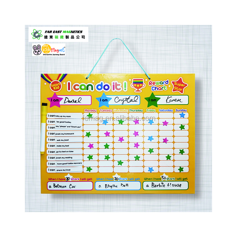 Custom Color Top Quality Teaching Resource EN71 and ASTM Star Magnetic chart for Kid