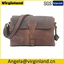 Small Quantity Top Quality Vintage Custom Mens Leather Messenger Bag with Brand