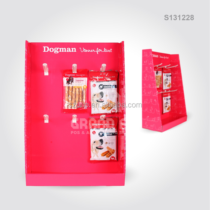 2 row plastic hooks printed dog food product display