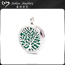 Tree of life stainless steel essential oil diffuser pendant necklace