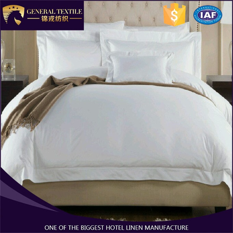 2016 new style 100% cotton 80s plain satin hotel bedding set with lowest prices