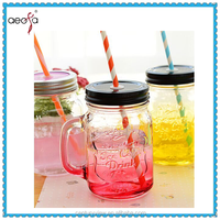 Colored straw glass mason jar with Metal lid and handle