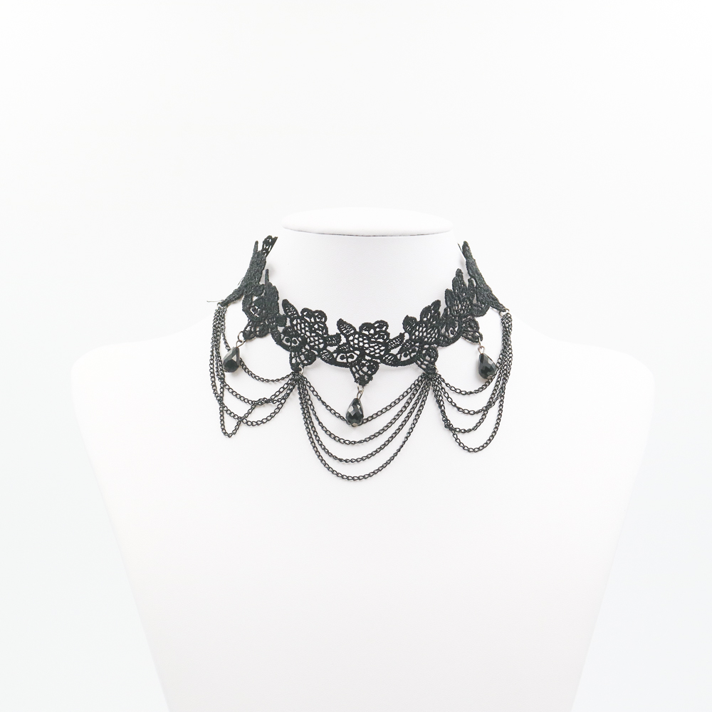 National Stylish Black Lace Necklace Multilaminate Metal Chain With Acrylic Drop Shape Charm Choker