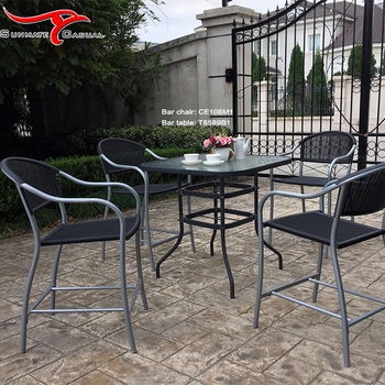 Plastic Injection Molding Rattan Wicker Outdoor Patio Furniture Glass Top Bar Table and Chair Set
