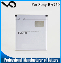 Mobile phone battery suppliers for Sony Ericsson BA750 battery backup
