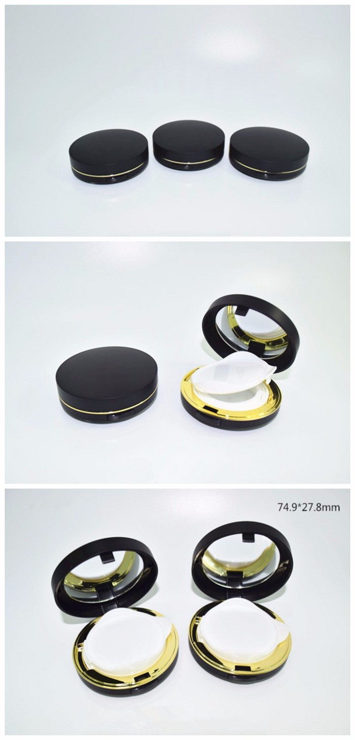 Free sample new design round shape bb cushion/foundation/liquid case for cosmetic packaging
