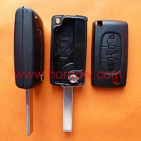 Peugeot 407 key blank Hu83 blade 3 button remote key fob with trunk button (No battery place),universal remote control car keys