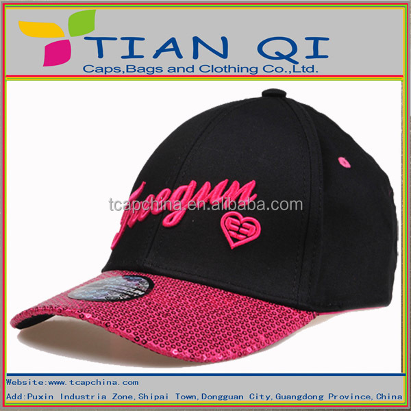 2014 newly designed 6-panel girl baseball cap with sequined curved brim