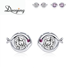 Fish Shape Rose Gold Jewelry Sterling Silver Teen Earrings with Purple Diamond