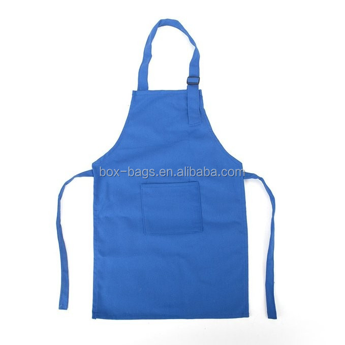 100% white cotton apron, kitchen cooking bib apron, customized logo, with front pocket